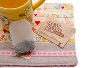 Love Bird Drink Coaster, Handmade Drink Mat, Large Fabric Coaster, Kawaii Birds and Hearts, Office Desk Coffee Mat, Girlfriend Gift, Mug Mat