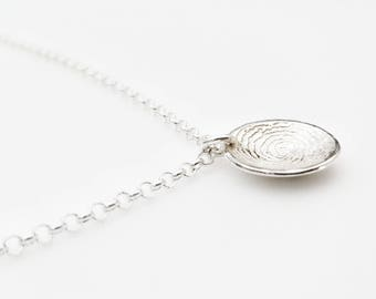 Sterling Silver Domed Fingerprint Charm Bracelet