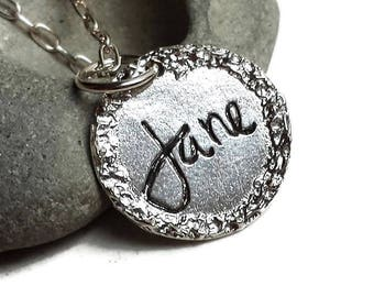 SILVER Name Charm Tag with Border Hand Engraved and Personalized with Name of Your Choice, unique gifts, romanza jewelry