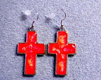 Handpainted Fiery Orange Red Yellow Abstract Resin Christian Cross Earrings Silver SE6