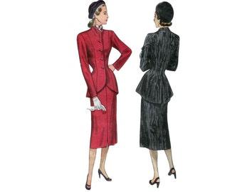 40s Peplum Jacket pattern Princess Seam Skirt Suit pattern Lilli Ann style Jacket vintage 32-26-35 New Look Suit pattern simplicity 2182