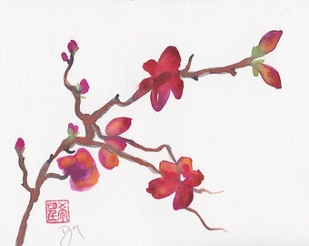 Blooming Branch Original Watercolor