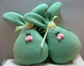 Fleece Bunny Easter and Spring Decoration, Stuffed Bunny, Easter Bunny, Set of 2 Spring Bunnies in Green Fleece