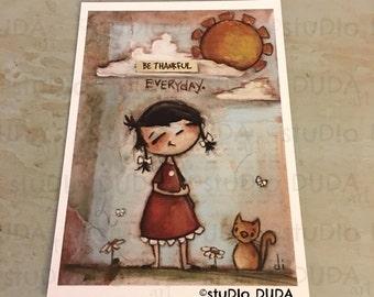 New!  STUDIO DUDA ART mini print/frameable greeting card on velvety bright paper -Everyday - 5x7 print