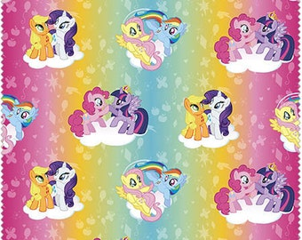 SALE My Little Pony Friendship is Magic Rainbow Ombre Quilters Cotton Fabric 1 yard BTY
