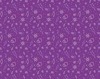 Tattooed Zoltar Purple by Libs Elliot Andover Quilters Cotton 1 Yard