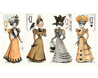 Queen of Ween by Janet Wecker Frisch Doll Panels 24 inch Tall Victorian Ladies Large Picture Patches
