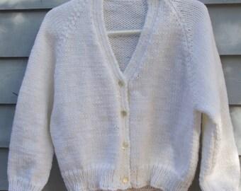 Girl, size 4/5, Cardigan sweater, white.