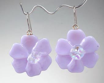 Pale lavender flower earrings, fused glass earrings, flower dangle earrings, handmade glass earrings
