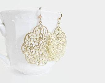 Gold filigree earrings, gold earrings, laser cut earrings, silver moroccan earrings, rose gold persian jewelry, delicate earrings filigrees