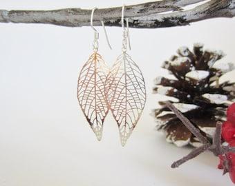 Silver filigree earrings, laser cut earring, filigree leaf earrings, delicate jewelry, gold earrings, boho chic jewelry, silver earrings