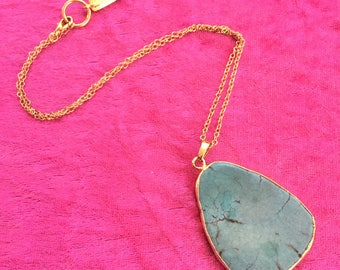 "Gold Electroplated Turquoise Slice Pendant Necklace - 18"" Southwest Style Jewelry"