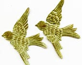 Pair Sage GReEN VELVET BIRDS  Millinery  Pressed Pieces Large  Embossed from Antique Molds Moss  MORE AVAlLABLE