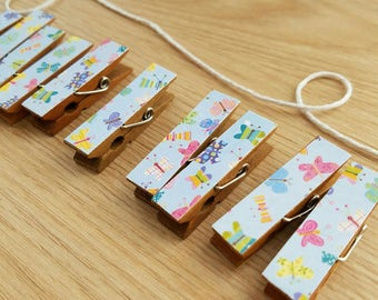 Butterfly Meadow Clips w White Twine for Photo Display - Chunky Little Clothespin Set of 12