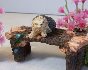 Wood look bench, flowers and hedgehog miniatures fairy garden, gnome or terrariums
