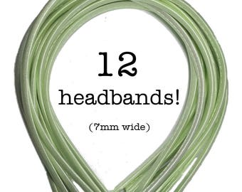 12 Mint Green satin headbands - skinny satin headbands in BULK