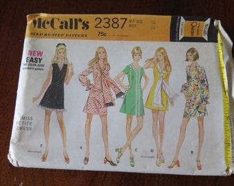 Vintage 70s McCalls 2387 Misses Mini Dress sz 14 B 36