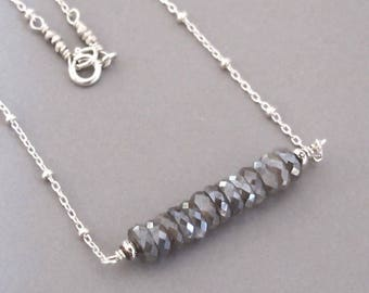 Gray Moonstone Necklace Sterling Silver Bead Chain DJStrang Boho Segment Sparkle Gemstone Line