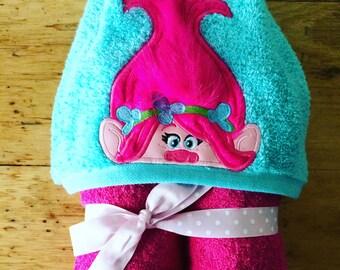 Princess Troll or Boy Troll Inspired Hooded Towel, Kids Large Hooded Towel, Baby Large Hooded Towel