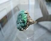 Deco Edwardian Carved Jade and 10K Gold Filigree Ring 6