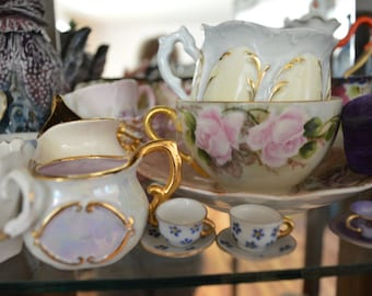 """Pretty color print of antique china, teacups and little dishes, """"Pretty China"""", 8"""" x 10"""" print on archival paper"""