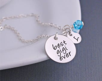 Best Gigi Ever Necklace in Silver, Christmas Gift for Gigi, Personalized jewelry for Gigi