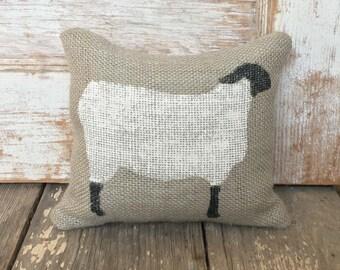 Suffolk Sheep- Burlap Feed Sack Doorstop - Sheep Door Stop - Sheep Decor - Black Faced Sheep - Wooly Lamb - Primitive Sheep