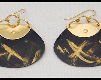 ELEGANCE - Handforged GoldLeaf Black Aluminum & Bronze Statement Earrings