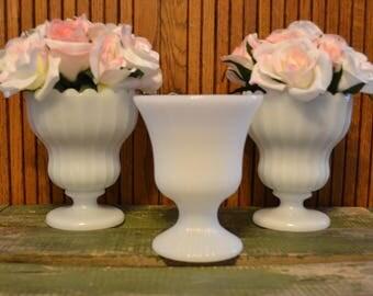 Vintage Milk Glass Compotes Set of 3 - Wedding - Ribbed - Royal Hill Vintage