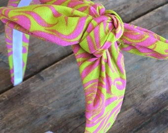 Hot Pink Floral Knot Tie Headband Bandanna Head Wrap Rock Fashion Headband