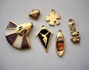 Various Vintage Fancy Gold Tone Metal Pendant-Charms