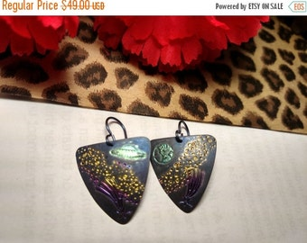 SALE TODAY Amazing Vintage Titanium UFO Outer Space Black Gold Pink Green Earrings Asteriods Aliens Sci Fi Planet Earth Ship Shooting Star