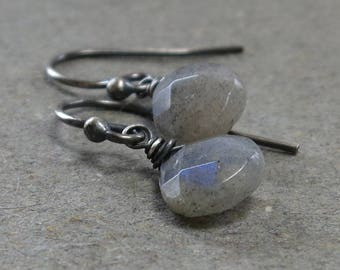 Labradorite Earrings Teardrop Briolette Petite Minimalist Oxidized Sterling Silver Earrings Gift for Her