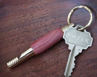 Security Whistle Key Ring - Hand Turned Wood - Rocky Mountain Juniper