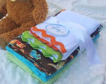 Baby Blanket Bundle, DINOSAURS  -  3 blankets + 2 burp cloths, plaid dinosaurs, turquoise, mint green plaid flannels, newborn baby boy