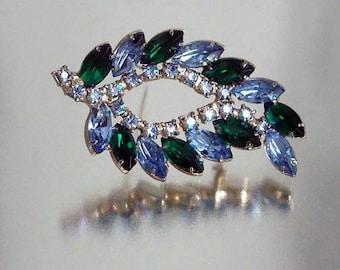 Rhinestone Pin Blue Green Brooch Vintage Leaf Shape
