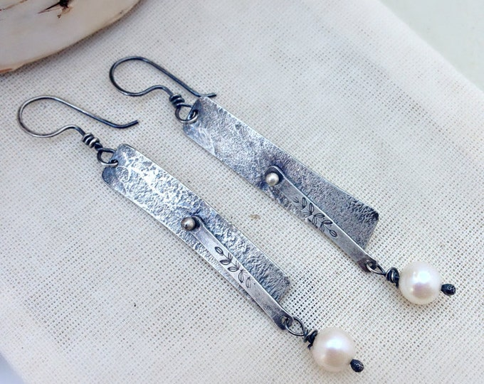 Sterling Silver Hand Stamped Vine Pendulum with White Pearl Earrings
