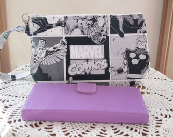 Clutch Wristlet Zipper Gadget Purse Pouch Marvel Comics