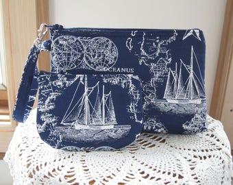 Nautical Sailing Wedding Bridal Smart phone Case Gadget Pouch Clutch Wristlet Zipper Gadget Pouch Bag  Made in USA Set