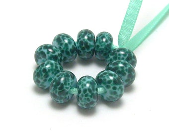 Dark Teal and Light Blue - Handmade Lampwork Glass Beads SRA