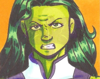 She Hulk, Artist Trading Card, ACEO, art card, Original art, Ink, Marker, OOAK