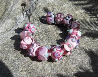 Pink Strand- lampwork bead set~handmade lampwork beads~ SRA lampwork- Art Glass beads Lisa New Design