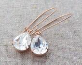 Swarovski Crystal Faux Diamond Pear Crystal Long Dangling Teardrop Tear Drop Rose Gold Gold Silver Bridal Earrings Wedding Bridesmaids Gifts
