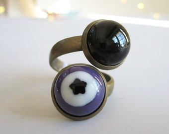 Ring, Fused Glass Wrap Ring, Adjustable Double Bohemian Ring, Handmade Fused Glass, Purple and Black Ring