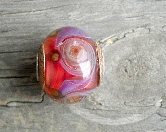 Handmade Large Hole Art Glass Bead . Orange . Lampwork Glass . Sterling . Copper . Julie Nordine . Credit River Art Glass . BHB122