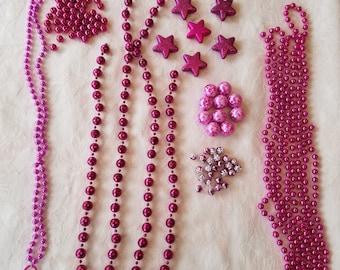 Christmas Detash Lot - Beaded Garland, Metallic Beads, Glitter Stars