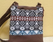 Tribal Crossbody Bag Ethnic Zippered Small Tribal Hipster Aztec Fabric Women Teen Brown Black Blue