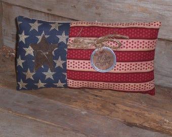 1 - Primitive - Patriotic - Grungy - Rustic - USA - July 4th Americana - Olde Glory Flag - Bowl Filler - Ornie - Shelf Sitter - Mini Pillow