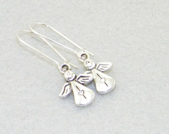 Cute antique silver angel charm dangle earrings, Christmas earrings, Holiday jewelry, Wedding, Mother's Day, Gift for her, Whimsical jewelry