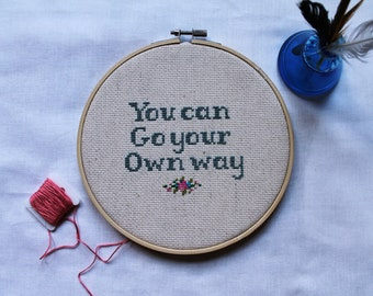 """You Can Go Your Own Way/Rock and Roll Cross Stitch/Fleetwood Mac/Cross Stitch/Embriodery/Hand Made Hoop Art/7"""""""